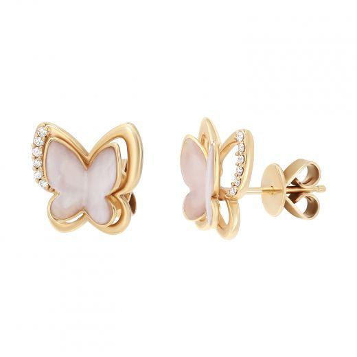 Сережки Перламутрові метелики з діамантами