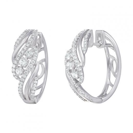 Сережки Ажур у білому золоті з діамантами