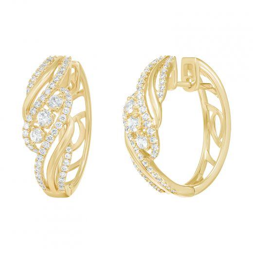 Сережки Ажур з діамантами у жовтому золоті