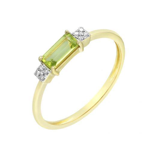 Каблучка з жовтого золота з діамантами та хризолітами