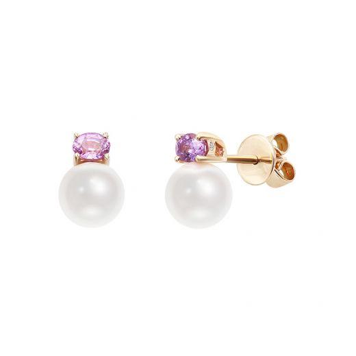 Сережки з рожевого золота з діамантами, сапфірами та перлами ZARINA