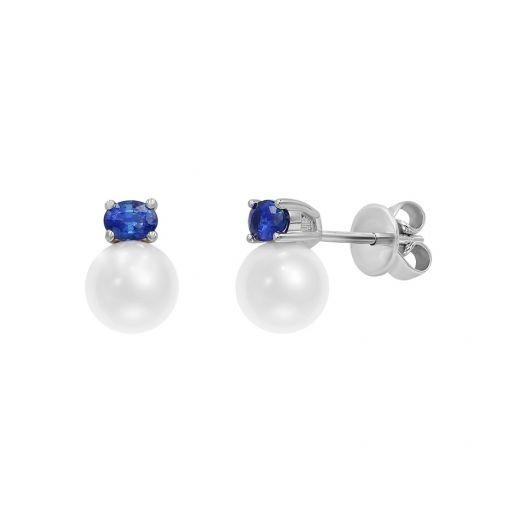 Сережки з білого золота з діамантами, сапфірами та перлами ZARINA