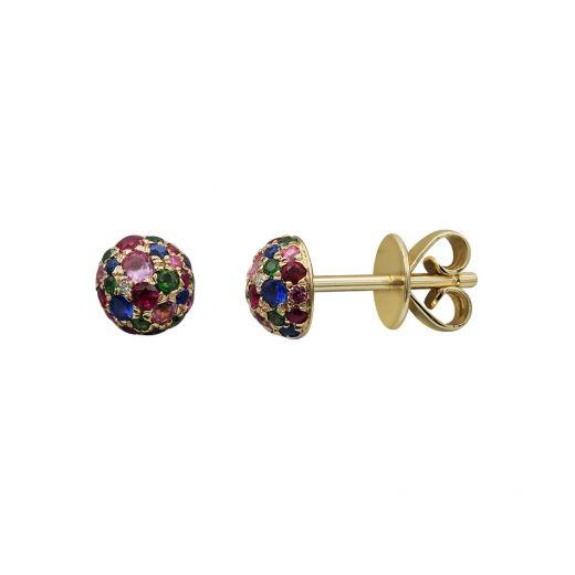 Сережки з жовтого золота з діамантами, сапфірами, рубінами та цаворитами ZARINA