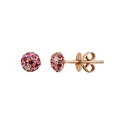 Сережки з рожевого золота з діамантами, сапфірами та рубінами ZARINA