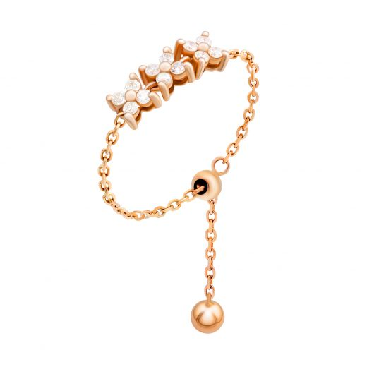 Каблучка з діамантами у рожевому золоті