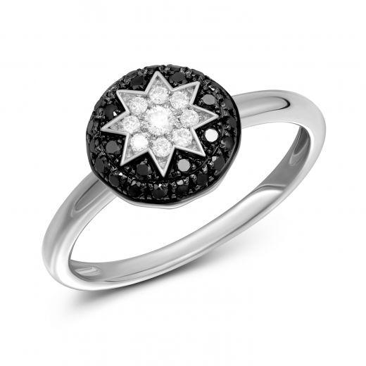 Каблучка з чорними діамантами ZIRKA