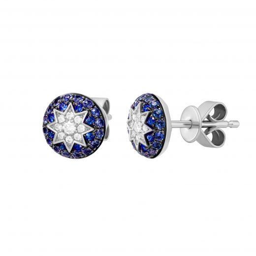 Сережки з діамантами та сапфірами ZIRKA