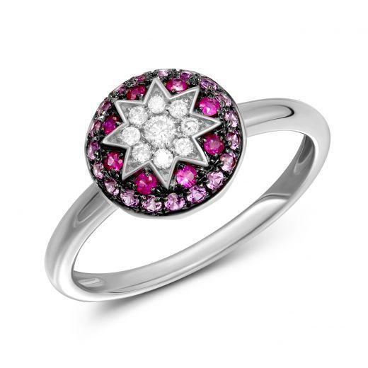 Каблучка з діамантами, рубінами та рожевими сапфірами ZIRKA