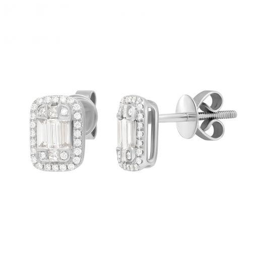Сережки Дінара з діамантами в білому золоті