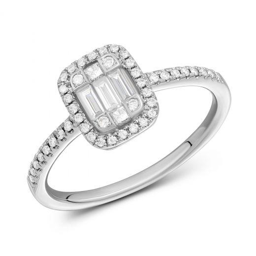 Каблучка Мілада з діамантами в білому золоті