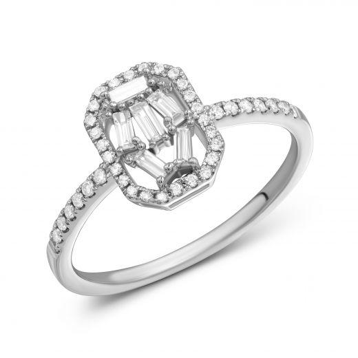 Каблучка Міліца з діамантами в білому золоті