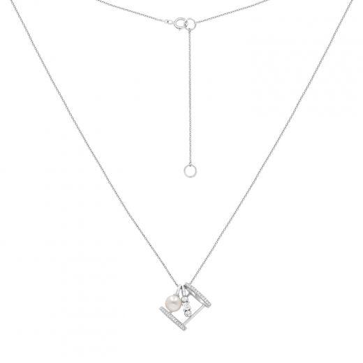 Кольє натхнення в білому золоті з діамантами та перлиною