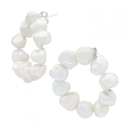 Сережки срібні з барочними перлаи