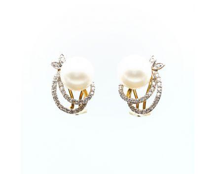 Сережки з жовтого золота з діамантами та перлами