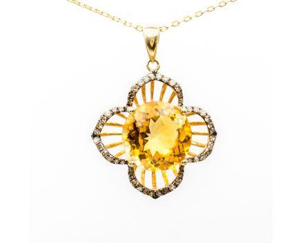 Подвес из желтого золота с бриллиантами и цитрином