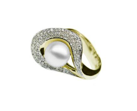 Каблучка ніжність з перлиною та діамантами