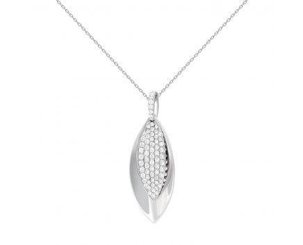 Підвіс діамантовий листок з білого золота