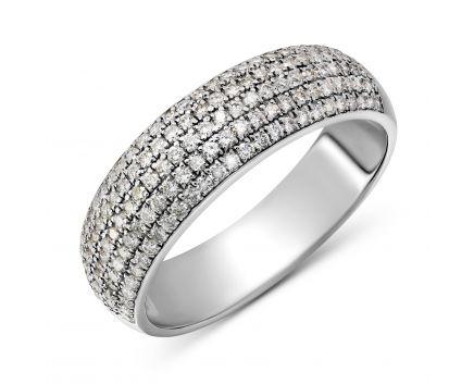 Каблучка сяйво з діамантами в білому золоті