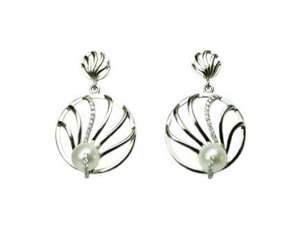 Сережки з перлами та діамантами в білому золоті