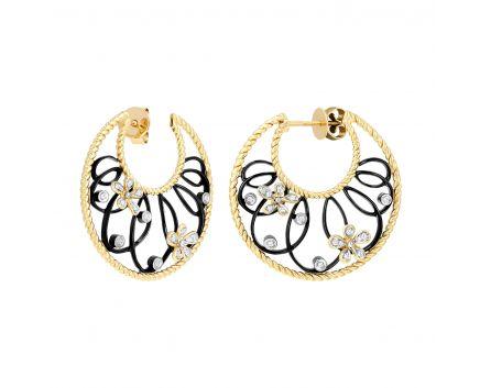 Сережки з діамантами Фриволіте у жовтому золоті