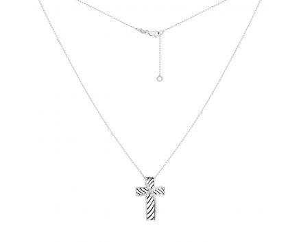 Хрестик зебра з білого золота та діамантами