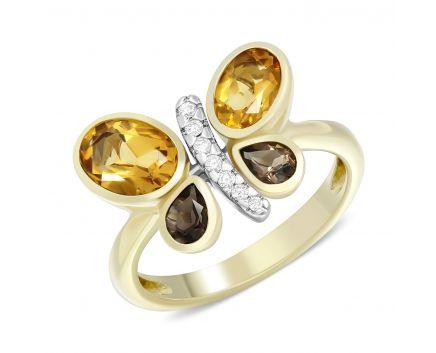 Каблучка з діамантами, цитринами та димчатим кварцем