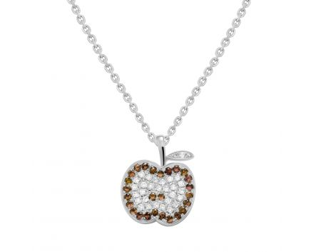Підвіс з білими та коньячними діамантами Яблуко