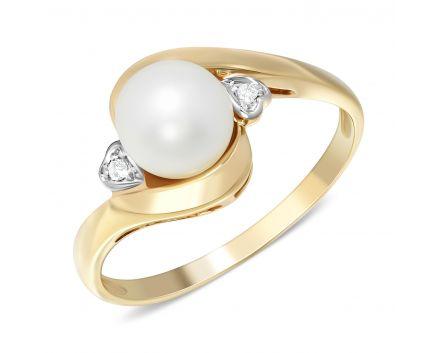 Каблучка з діамантами та перлиною в жовтому золоті