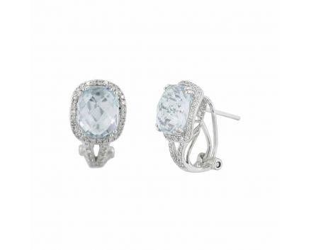 Сережки ніжність з топазом та діамантами в білому золоті