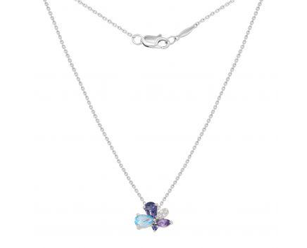 Кольє з діамантами, аметистом, кордієритом і топазом