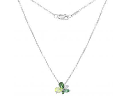 Кольє з діамантами, хризолітом та зеленим топазом