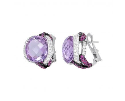 Серьги с бриллиантами, аметистами и розовыми сапфирами