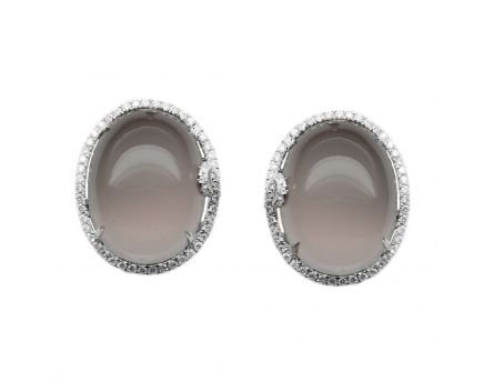 Сережки з дим. кварцем та діамантами в білому золоті