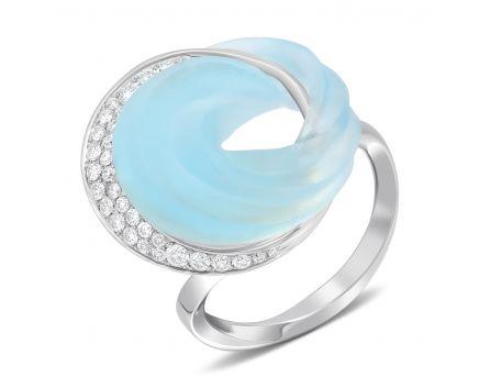 Кольцо с бриллиантами и топазом фантазийной формы