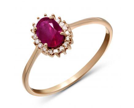 Каблучка Офелія з діамантами та рубіном в рожевому золоті