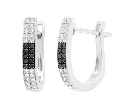 Сережки вишуканість з білими та черними діамантами в білому золоті