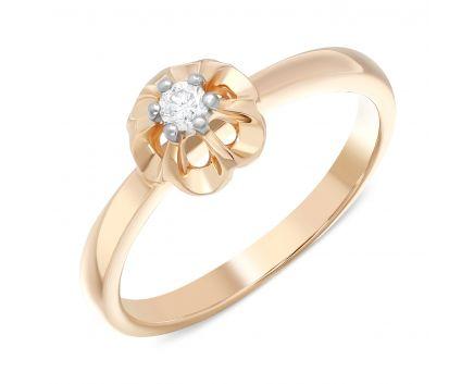 Каблучка з діамантом квіточка в рожевому золоті