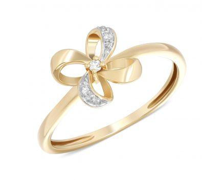 Каблучка квіточка з діамантами в жовтому золоті