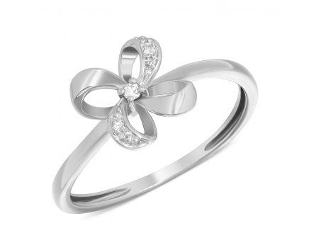 Каблучка квіточка з діамантами в білому золоті