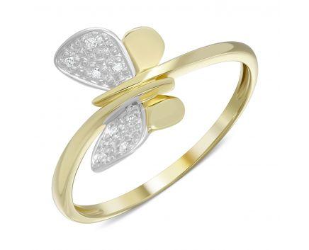 Каблучка Метелик в жовтому золоті