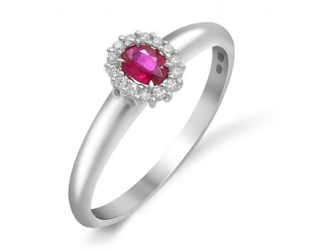 Кольцо из белого золота с бриллиантами и рубином ZARINA