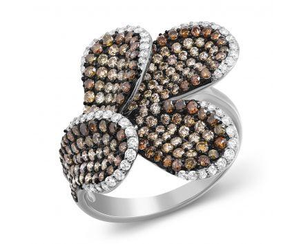Каблучка Ліана в білому золоті з діамантами