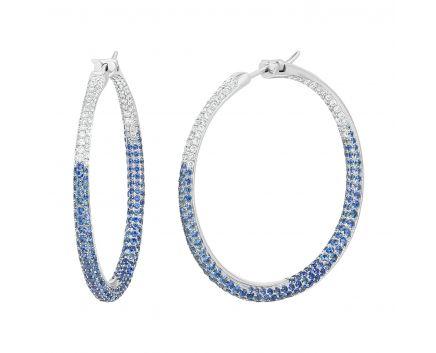 Сережки сяйво б білому золоті з діамантами та сапфірами