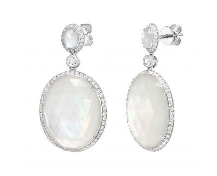 Сережки з діамантами, перламутром та гірським кришталем
