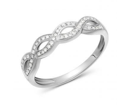 Каблучка Глорія з діамантами в білому золоті