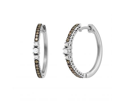 Сережки-кільця з коньячними діамантами