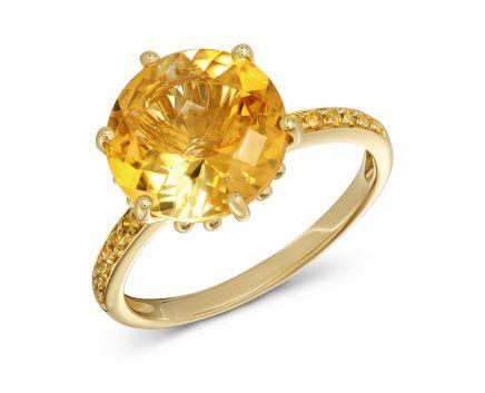 Каблучка з жовтого золота з діамантами та цитрином