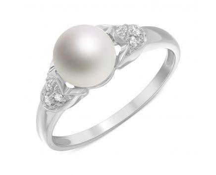 Каблучка з діамантами та перлиною в білому золоті