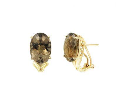 Серьги из желтого золота с дымчатым кварцом