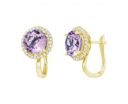Сережки з аметистами та діамантами по колу